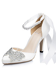 Women's Heels Spring / Summer / Fall / Winter Heels Satin Wedding / Dress / Party & Evening Stiletto Heel Rhinestone / BowknotIvory /