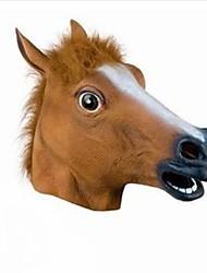 máscara de la cabeza llena la cabeza de caballo espeluznante máscara de piel de látex de caucho melena realista loco super fiesta