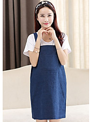 Going out Simple Sheath Dress,Solid Strap Above Knee Sleeveless Cotton Summer Stretchy Thin