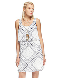 HEARTSOUL Women's Going out Simple Loose Dress,Print Strap Above Knee Sleeveless White Polyester Summer