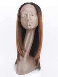 Synthetic Lace Front Wig Ombre Dark Brown Color Long Wigs Heat Resistant Glueless Lace Front Synthetic Wigs