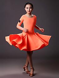 Dança Latina Vestidos Crianças Treino Licra Pano 1 Peça Meia manga Natural Vestido