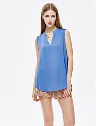 mulheres heartsoul de sair t-shirt simples verão, sólida v pescoço mangas de poliéster azul fina