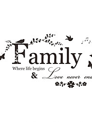 Wall Stickers Wall Decals, Word Family Where Life Begins & Love Never Ends PVC Wall Sticker