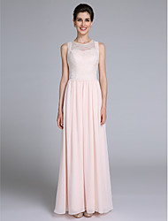 Lanting Bride® Sheath / Column Mother of the Bride Dress Floor-length Sleeveless Chiffon with Lace