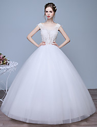 Ball Gown Wedding Dress Floor-length Scoop Lace / Satin / Tulle with Lace