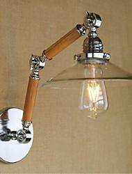 e27 4w 110v-130v 220v-240v simple, verre transparent bois mur LED