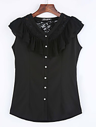 Women's Casual/Daily Simple Summer Blouse,Solid V Neck Sleeveless White / Black Medium