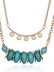 Necklace Chain Necklaces / Strands Necklaces Jewelry Daily / Casual Double-layer / Fashionable Alloy / Gem Gold 1pc Gift