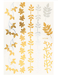 1pc Water Transfer Decal Gold Silver Flash Metallic Tattoo Hair Arm Body Art Temporary Maple Leaves Tattoo HT306