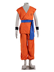Inspired by Dragon Ball Goku Anime Cosplay Costumes Cosplay Suits Solid Orange Sleeveless Top / Pants / Belt