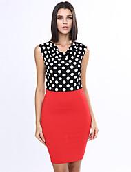 women's wing collar Sleeveless polka-dot sllim pencil skirt (Polyester)