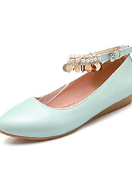 Women's Spring / Summer / Fall Comfort Leatherette Wedding / Dress / Casual / Party & Evening Flat Heel Blue / Pink / White