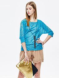 Herz Soul® Damen Rundhalsausschnitt 3/4 Ärmel T-Shirt Blau-11AA28220