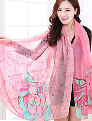 Roses Silk Scarves Voile Warm Shawl Scarf