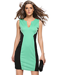 Women's Casual/Daily Simple Sheath Dress,Color Block V Neck Above Knee Sleeveless Blue / Green Polyester Summer