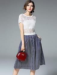 Women's Simple Solid Loose Dress,Round Neck Knee-length Nylon