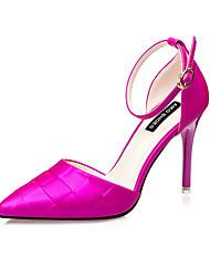 Women's Heels Summer Heels Silk Casual Stiletto Heel Beading Black / Fuchsia Others