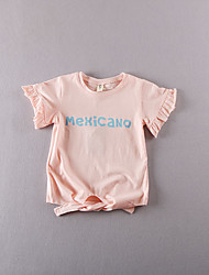 Girl's Casual/Daily Print Tee,Cotton Summer Pink / White