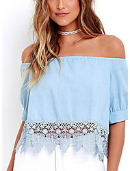 Women's Going out Sexy / Street chic Summer T-shirt,Solid Strapless Short Sleeve Blue Others Thin