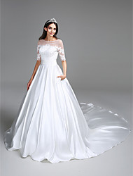 LAN TING BRIDE Ball Gown Wedding Dress See-Through Chapel Train Bateau Satin with Appliques Ruche Sequin
