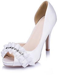 Women's Heels Spring Summer Fall Platform Satin Wedding Dress Party & Evening Stiletto Heel Platform Beading Satin Flower Ivory White