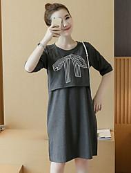 Maternidad Corte Ancho Vestido Casual/Diario Simple,Estampado Escote Redondo Sobre la rodilla Manga Corta Rosa / Gris / Amarillo Algodón
