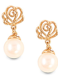 Fashion Personality Hollow Out Flower Pearl Stud Earrings