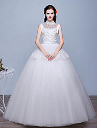 A-line Wedding Dress Floor-length High Neck Lace / Tulle with Lace