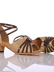 Customizable Women's Dance Shoes Leatherette / Paillette Leatherette / Paillette Latin / Dance Sneakers Heels Cuban Heel