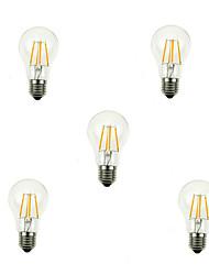 5pcs A60 4w e27 360LM Dimmable 360 градусов теплый холодный белый цвет свет водить нити накала