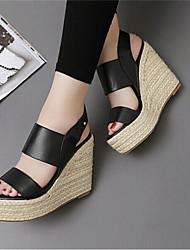 Women's Summer Wedges / Gladiator / Open Toe PU Outdoor / Office & Career / Dress Wedge Heel Black / White