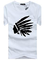 Herren Druck Lässig/Alltäglich T-shirt Kurzarm Baumwolle Acryl