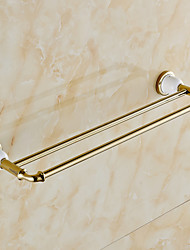 Gold-plated finishing Brass Material Double Towel Bar