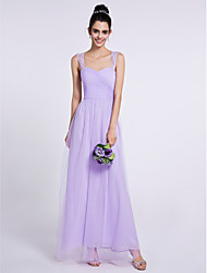 Ankle-length Tulle Bridesmaid Dress - Sheath / Column Sweetheart with Criss Cross
