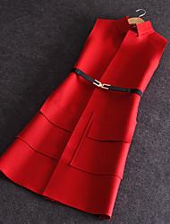 Mulheres Blazer Casual Moda de Rua Outono,Sólido Vermelho / Preto / Cinza Lã Colarinho Chinês Sem Manga Média
