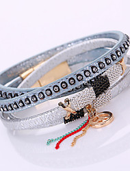 Fashion Multilayer Rhinestone Leather Tassel Bracelets & Bangles Magnetic jewelry