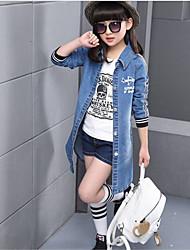 Casual/Dagelijks-Patchwork-Katoen-Zomer-Girl's-Kostuum & Blazer-Blauw