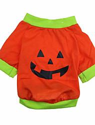 Katze Hund T-shirt Hundekleidung Niedlich Halloween Kürbis Orange Grün