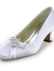 damesschoenen zijde platte hiel hielen / hakken ronde neus bruiloft / feest&avond / jurk wit
