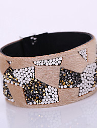 New Fashion Charm Women Magnet Alloy Buckle Leather Shiny Flannel Multilayer Magnetic Width Bangle Bracelet