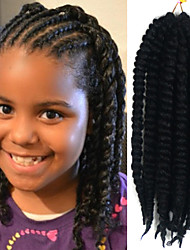 "Natural Black 12"" Kid's Kanekalon Synthetic 2X Havana Mambo Twist 100g Hair Braids with Free Crochet Hook"