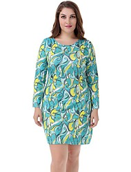 Women's Plus Size Sexy Long Sleeve Print Mini Dress