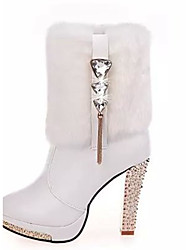 Damen-Stiefel-Lässig-PU-Blockabsatz-Modische Stiefel-Schwarz Weiß