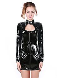 Women's Long Sleeve Front Zipper PVC Catsuit