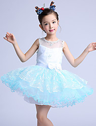 Ball Gown Short / Mini Flower Girl Dress - Cotton / Organza / Satin Sleeveless Jewel with Bow(s) / Embroidery