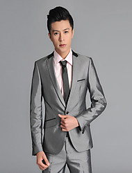 Suits Standard Fit Notch Single Breasted One-button Wool Solid 2 Pieces  Straight Flapped None (Flat Front) Gray None