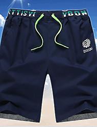 Men's Print / Solid Casual Shorts,Cotton Blue / Green / Orange / Yellow