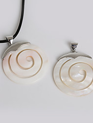Beadia 45mm Round Natural Mother of Pearl White Shell Pendant (1Pc)