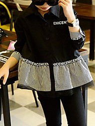 Girl's Party/Cocktail Striped Blouse,Cotton Spring / Fall Black